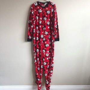 Mickey Mouse Footed Onesie Pajamas L Like new